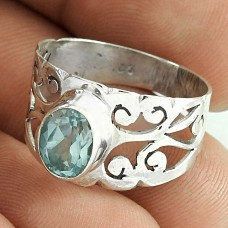 2018 Fashion !! Blue Topaz Gemstone 925 Sterling Silver Ring