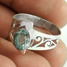 Beautiful !! Blue Topaz Gemstone 925 Sterling Silver Ring Exporter India