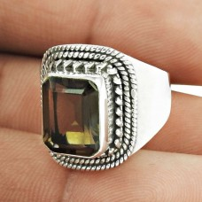 Natural Beauty ! Smoky Quartz Gemstone Silver Jewellery Ring