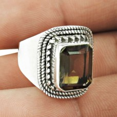 Nice Looking ! Smoky Quartz Gemstone Silver Jewellery Ring