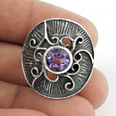 Party Wear !! Amethyst Gemstone Silver Ring Jewellery
