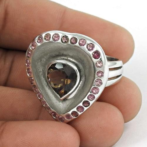 Heart Shape ! Smoky Quartz, Pink CZ Gemstone Silver Ring Jewellery