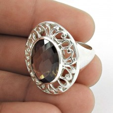 Charming ! Smoky Quartz Gemstone Sterling Silver Ring Jewellery