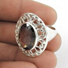 Charming ! Smoky Quartz Gemstone Sterling Silver Ring Jewellery