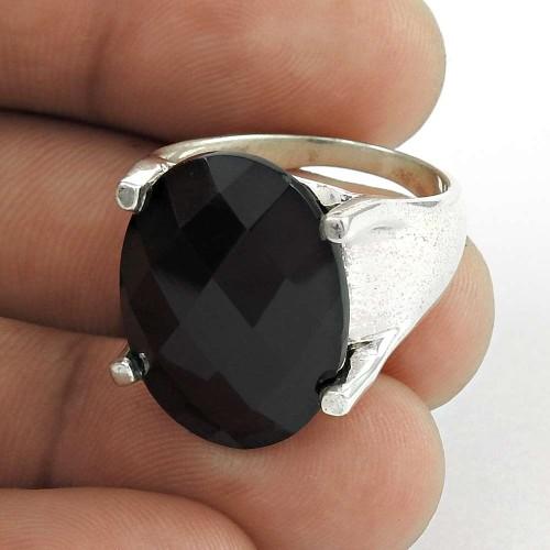 Delicate ! Black Onyx Gemstone Sterling Silver Ring Jewellery