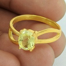 Nice Looking ! Citrine Gold Plated 925 Sterling Silver Ring Jewellery