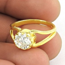 Pleasant ! White CZ Gold Plated 925 Sterling Silver Ring Jewellery