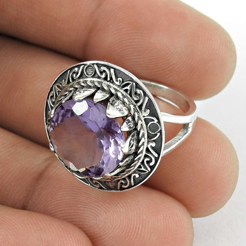Latest Design 925 Sterling Silver Amethyst Gemstone Ring