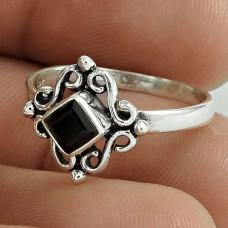 Indian Fashion ! Black Onyx Gemstone 925 Sterling Silver Ring