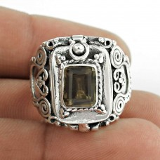 Fashion Smoky Quartz Gemstone 925 Sterling Silver Antique Ring Jewellery