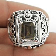 Designer Smoky Quartz Gemstone 925 Sterling Silver Indian Ring Jewellery
