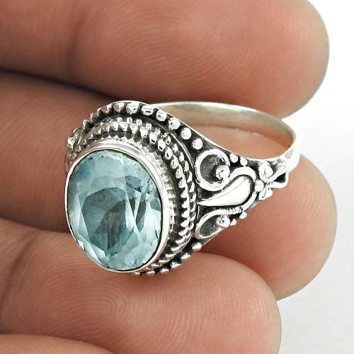 Brilliant Design 925 Sterling Silver Blue Topaz Natural Gemstone Ring
