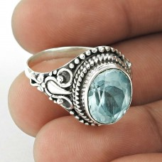 Brilliant Design 925 Sterling Silver Blue Topaz Natural Gemstone Ring For Girls