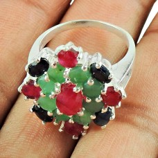 925 Sterling Silver Antique Jewellery Rare Ruby, Emerald, Iolite Gemstone Ring De gros