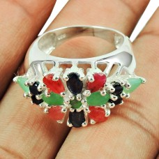 925 Sterling Silver Jewellery Trendy Ruby, Emerald, Iolite Gemstone Ring Supplier India