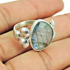 Sterling Silver Fashion Jewellery Daily Wear Labradorite, CZ Gemstone Ring Al por mayor