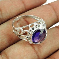 925 Sterling Silver Indian Jewellery Beautiful Amethyst Gemstone Ring Proveedor