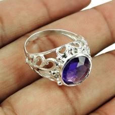 925 Sterling Silver Indian Jewellery Beautiful Amethyst Gemstone Ring Proveedor