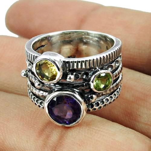 925 Sterling Silver Fashion Jewellery Charming Amethyst, Peridot, Citrine Gemstone Ring De gros