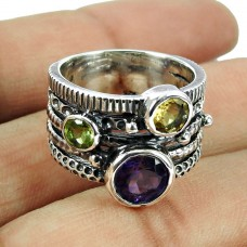 925 Sterling Silver Gemstone Jewellery Fashion Amethyst, Peridot, Citrine Gemstone Ring Wholesale Price