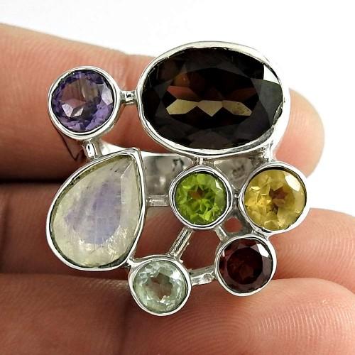 Paradise Bloom 925 Sterling Silver Rainbow Moonstone Blue Topaz Smoky Quartz Garnet Peridot Amethyst Citrine Gemstone Ring