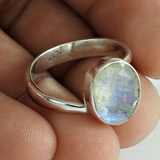 Simple 925 Sterling Silver Rainbow Moonstone Ring