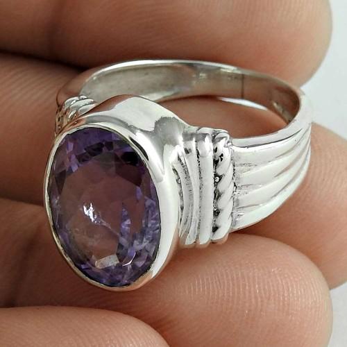 Stylish 925 Sterling Silver Amethyst Gemstone Ring