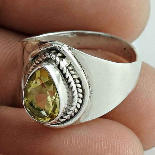 Victorian Style 925 Sterling Silver Citrine Gemstone Ring