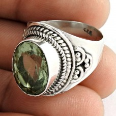 Party Wear 925 Sterling Silver Green Amethyst Gemstone Ring