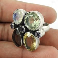 Daily Wear 925 Sterling Silver Smoky Quartz Green Amethyst Citrine Amethyst Rainbow Moonstone Gemstone Ring Jewelry