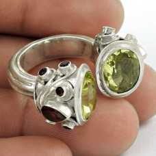 Designer 925 Sterling Silver Garnet Lemon Topaz Gemstone Ring Traditional Jewelry