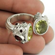 Party Wear 925 Sterling Silver Garnet Lemon Topaz Gemstone Ring Ethnic Jewelry