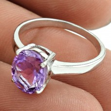 Scenic Rhodium Plated 925 Sterling Silver Amethyst Gemstone Ring Size 6.5 Ethnic Jewelry I99