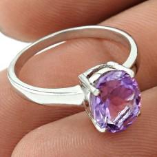 Graceful Rhodium Plated 925 Sterling Silver Amethyst Gemstone Ring Size 6 Handmade Jewelry J1