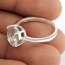 Lustrous 925 Sterling Silver Rose Quartz Gemstone Ring Ethnic Jewelry
