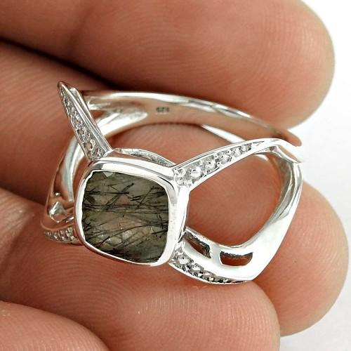 Sightly 925 Sterling Silver Black Rutile Gemstone Ring Vintage Jewelry