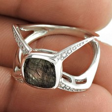 Seemly 925 Sterling Silver Black Rutile Gemstone Ring Jewelry
