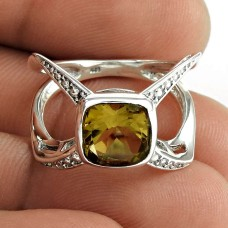 Classic 925 Sterling Silver Citrine Gemstone Ring Jewelry
