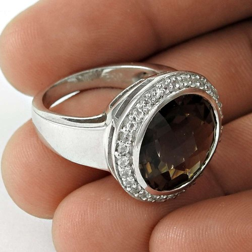 Beautiful 925 Sterling Silver Smoky Quartz CZ Gemstone Ring Fashion Jewelry