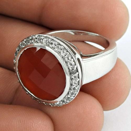 Daily Wear 925 Sterling Silver Carnelian CZ Gemstone Ring Jewelry