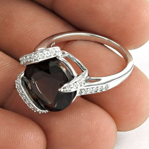 Latest Trend 925 Sterling Silver Smoky Quartz CZ Gemstone Ring Vintage Jewelry