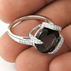 Fashion 925 Sterling Silver Smoky Quartz CZ Gemstone Ring Antique Jewelry