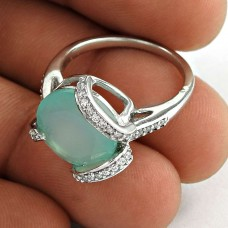 Party Wear 925 Sterling Silver Chalcedony CZ Gemstone Ring Ethnic Jewelry