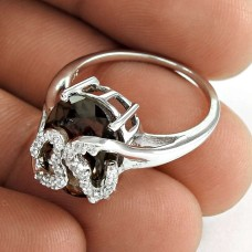 Pretty 925 Sterling Silver Smoky Quartz CZ Gemstone Ethnic Ring Jewelry