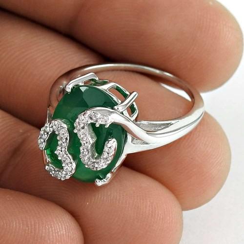 Daily Wear 925 Sterling Silver Green Onyx CZ Gemstone Ring Jewelry