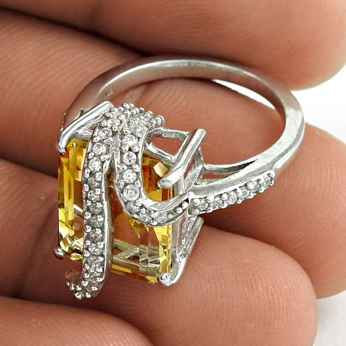 Trendy 925 Sterling Silver Citrine CZ Gemstone Ring Jewelry