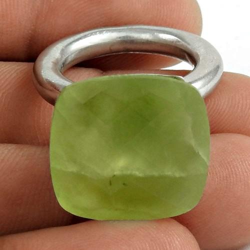 Designer 925 Sterling Silver Prehnite Gemstone Ring Traditional Jewelry