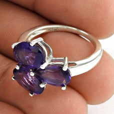 Three Stone Ring 925 Sterling Silver Amethyst Gemstone Jewelry