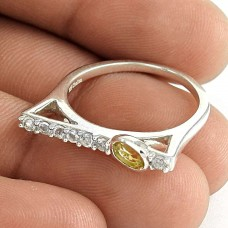 Scrumptious 925 Sterling Silver Citrine CZ Gemstone Ring Jewelry