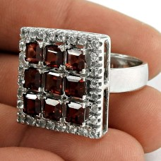 Handy 925 Sterling Silver Garnet CZ Gemstone Ring Ethnic Jewelry